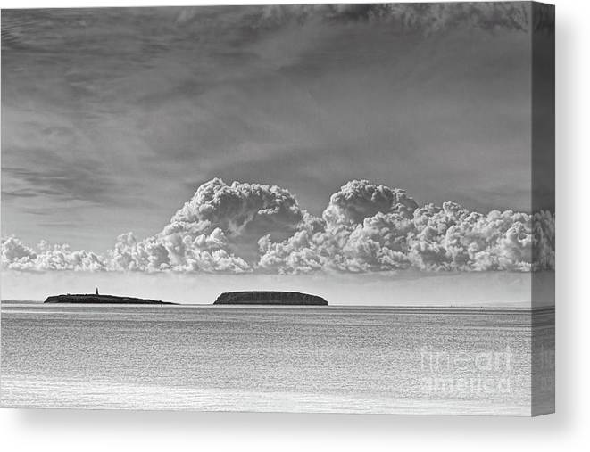 Flat Holm Canvas Print featuring the photograph Flat Holm And Steep Holm Mono by Steve Purnell