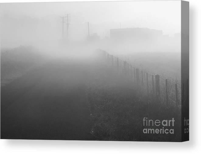 Foggy Canvas Print featuring the photograph Foggy Morning At A Countryside by Hideaki Sakurai