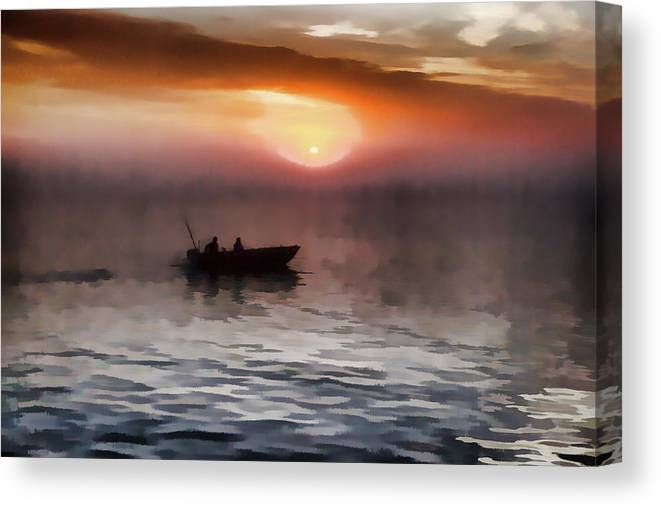 Lake Michigan Canvas Print featuring the photograph Foggy Morning by Carl Simmerman