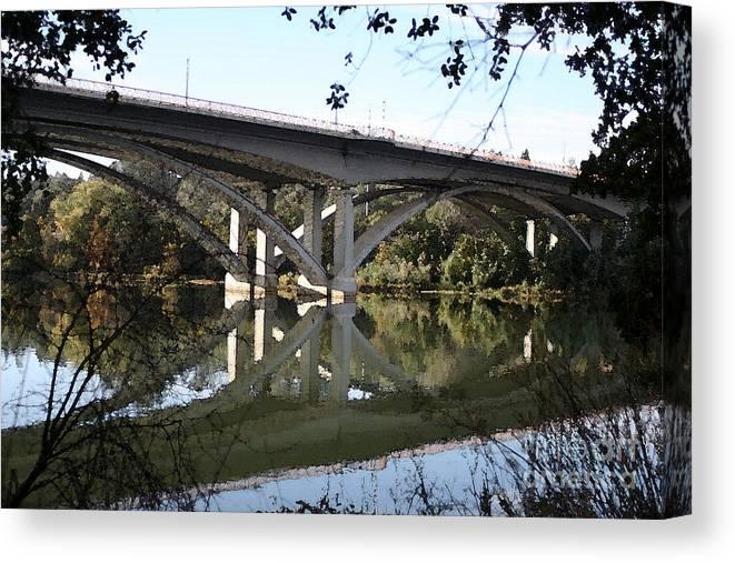 Bridge Canvas Print featuring the photograph Folsom Bridge-watercolor by Melanie Rainey