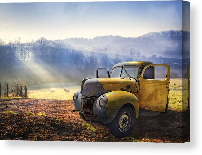 Appalachia Canvas Print featuring the photograph Ford In The Fog by Debra and Dave Vanderlaan