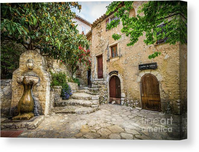 Cote D'azur Canvas Print featuring the photograph Fountain Courtyard In Eze, France 2 by Liesl Walsh