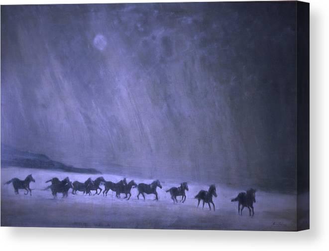 Horse Canvas Print featuring the painting Freedom by Jarmo Korhonen aka Jarko