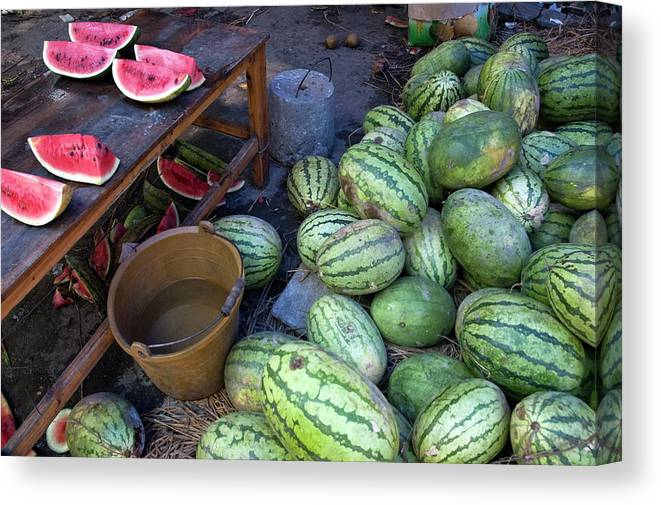 Abundance Canvas Print featuring the photograph Fresh Watermelons For Sale by Sami Sarkis