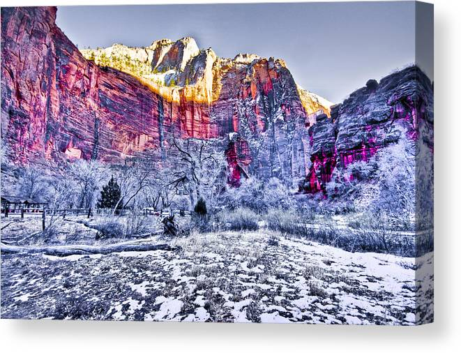 Landscape Canvas Print featuring the digital art Frozen Zion by Ches Black