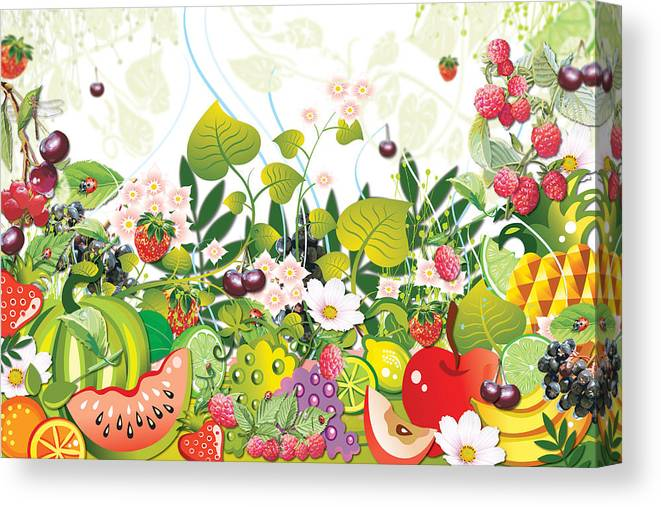 Fruits Canvas Print featuring the digital art Fruit Garden by Lesley Smitheringale