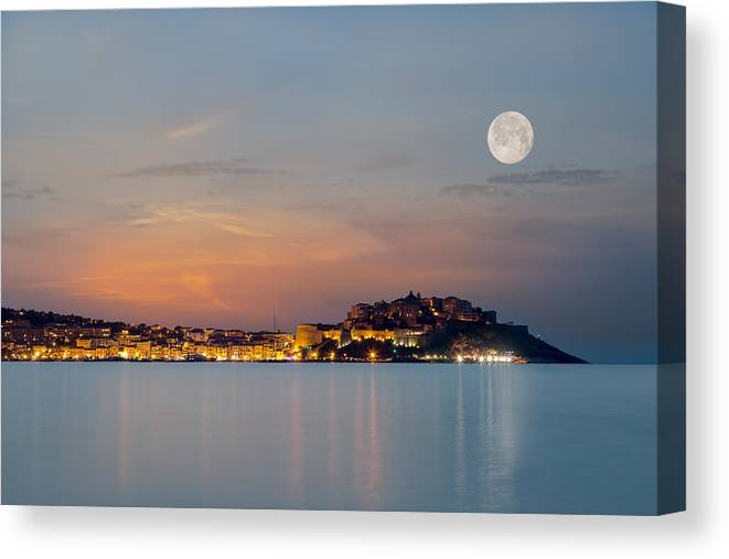 Balagne Canvas Print featuring the photograph Full Moon Over Calvi Citadel In Balagne Region Of Corsica by Jon Ingall