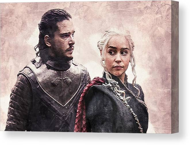 Game Of Thrones Jon Snow And Daenerys Targaryen Canvas Print