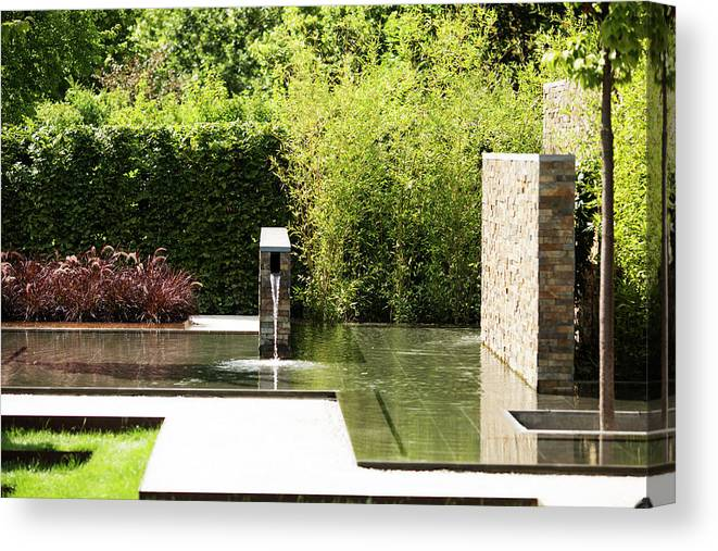 Architecture Canvas Print featuring the photograph Garden Fountain by Lori Rider
