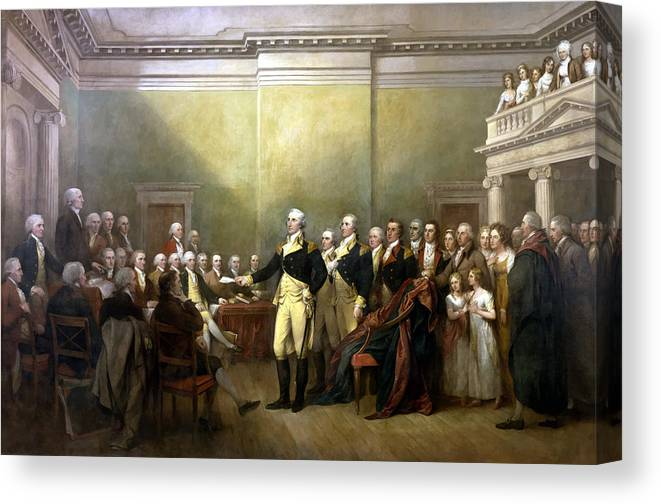 George Washington Canvas Print featuring the painting General Washington Resigning His Commission by War Is Hell Store