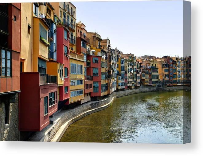 Girona Canvas Print featuring the photograph Girona Riverfront by Mathew Lodge