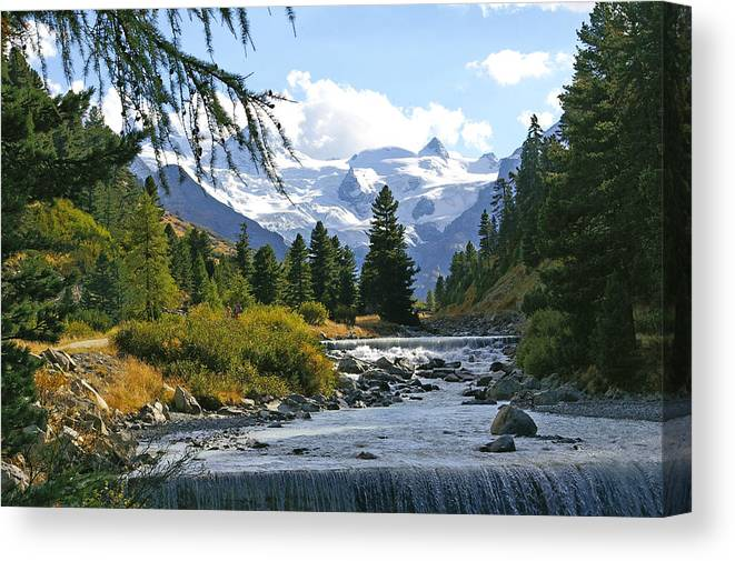 Mountain Canvas Print featuring the photograph Glacier Stream by Tom Reynen