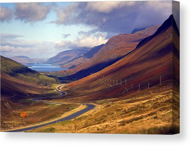 Scotland Canvas Print featuring the photograph Glen Docharty And Loch Maree by John McKinlay
