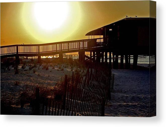 Beach Canvas Print featuring the painting Golden Slats by Michael Thomas