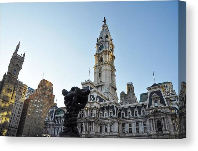 Government Canvas Print featuring the photograph Government Of The People And City Hall Philadelphia by Bill Cannon