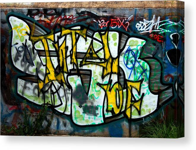 Graffitti Canvas Print featuring the greeting card Graffiti Fort Armistead Baltimore Maryland by Wayne Higgs
