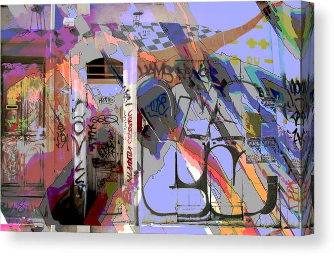 Front Door Canvas Print featuring the mixed media Graffitis Front Door by Martine Affre Eisenlohr