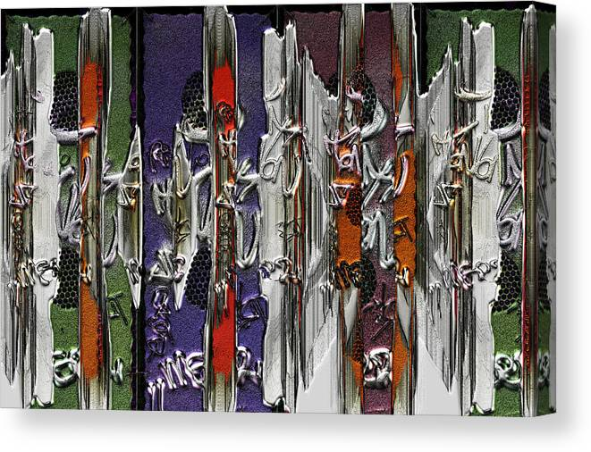 Graf Canvas Print featuring the mixed media Graffitis Sculpture by Martine Affre Eisenlohr