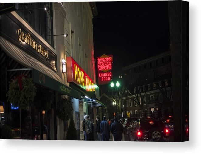 Cambridge Canvas Print featuring the photograph Grafton Street Pub And The Hong Kong In Harvard Square Cambridge Ma by Toby McGuire