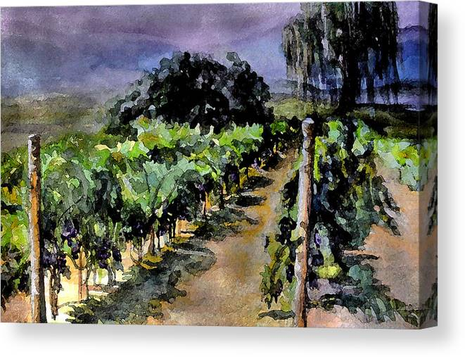 Vineyard Canvas Print featuring the painting Grapes Of Niagara by Mary Sonya Conti