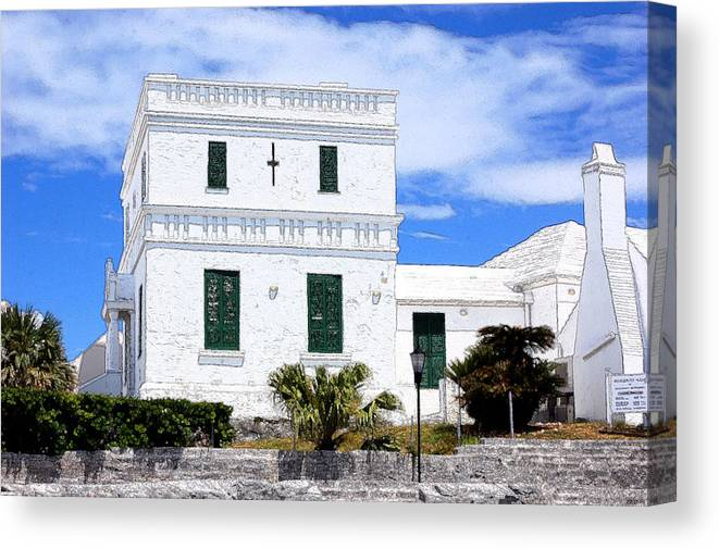 Bermuda Canvas Print featuring the photograph Green Shutters by Richard Ortolano