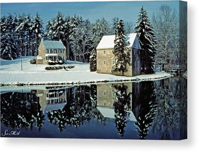 Grings Mill Recreation Area Canvas Print featuring the photograph Grings Mill Snow 001 by Scott McAllister