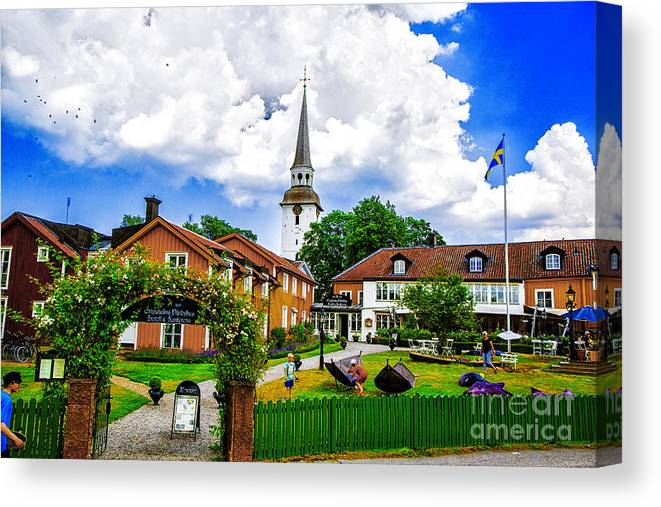 Sweden Mariefred Hotels Canvas Print featuring the photograph Gripsholms Dardshus by Rick Bragan