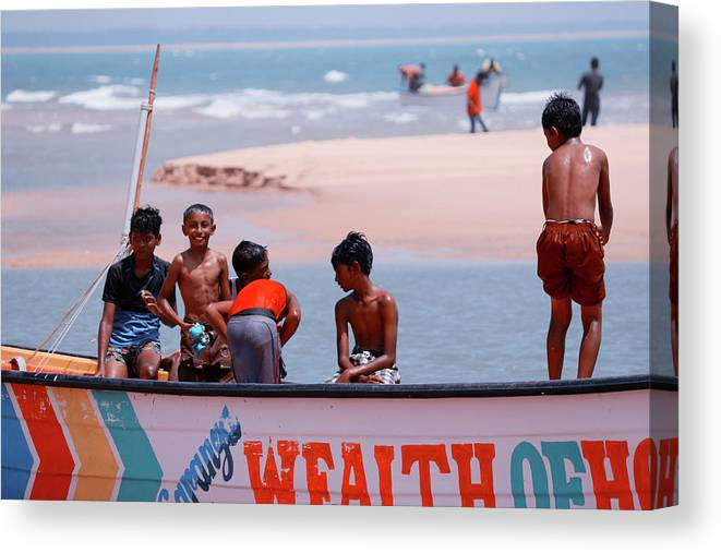Beach Canvas Print featuring the photograph Group Of Friends Having Fun In The Fishing Boat by Samuel Micha