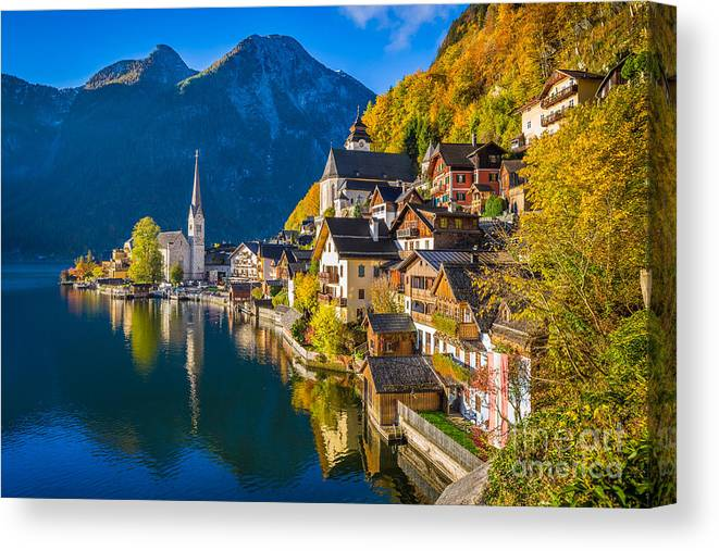 Alpine Canvas Print featuring the photograph Hallstatt In Fall by JR Photography