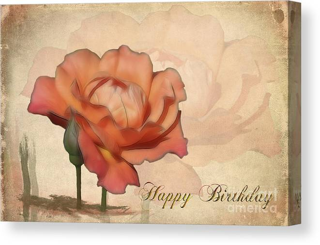 Flower Canvas Print featuring the photograph Happy Birthday Peach Rose Card by Teresa Zieba
