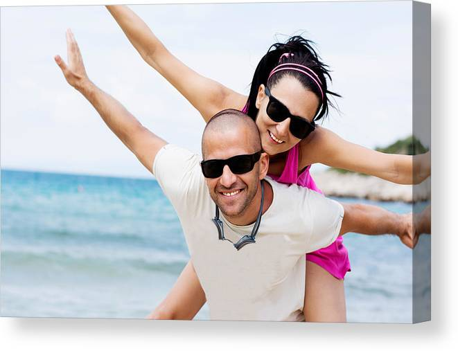 Beach Canvas Print featuring the photograph Happy Couple On Beach by Newnow Photography By Vera Cepic