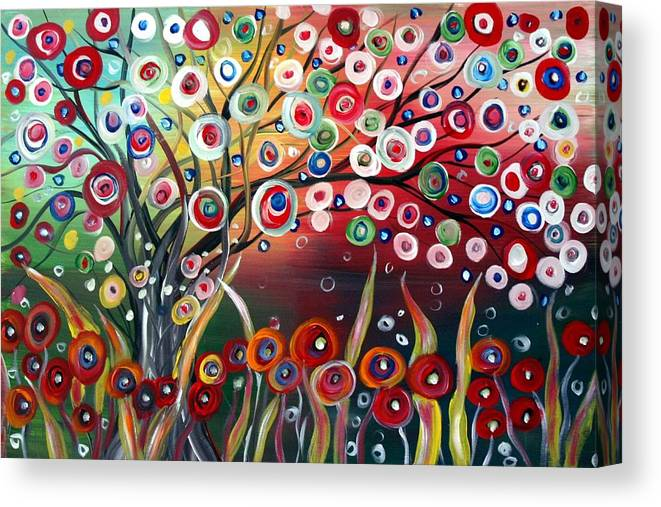 Landscape Canvas Print featuring the painting Happy Days by Luiza Vizoli