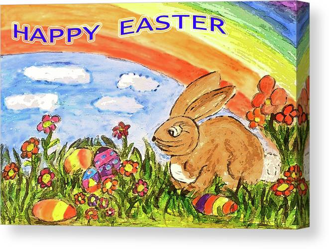 Easter Canvas Print featuring the painting Happy Easter by Monica Engeler