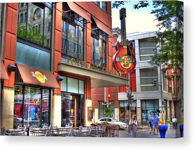 Hard Rock Cafe Canvas Print featuring the photograph Hard Rock Cafe Denver by Laurie Prentice