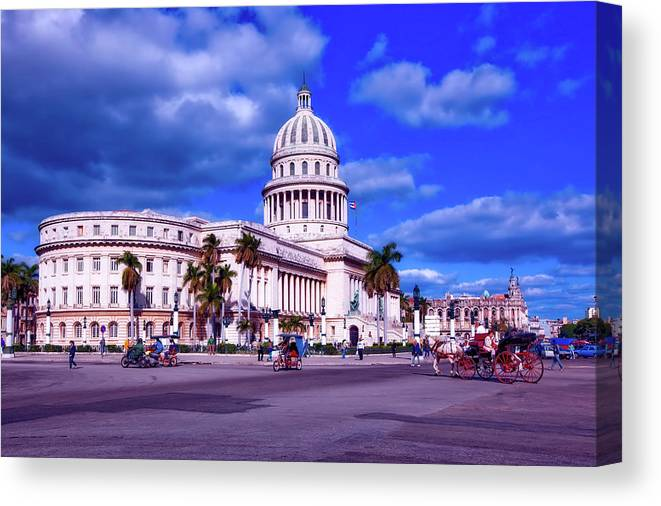 Havana Canvas Print featuring the photograph Havana National Capitol by Mountain Dreams