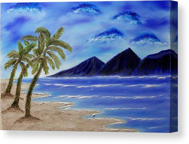 Palm Tree Canvas Print featuring the painting Hawaiian Palms by Marie Lamoureaux