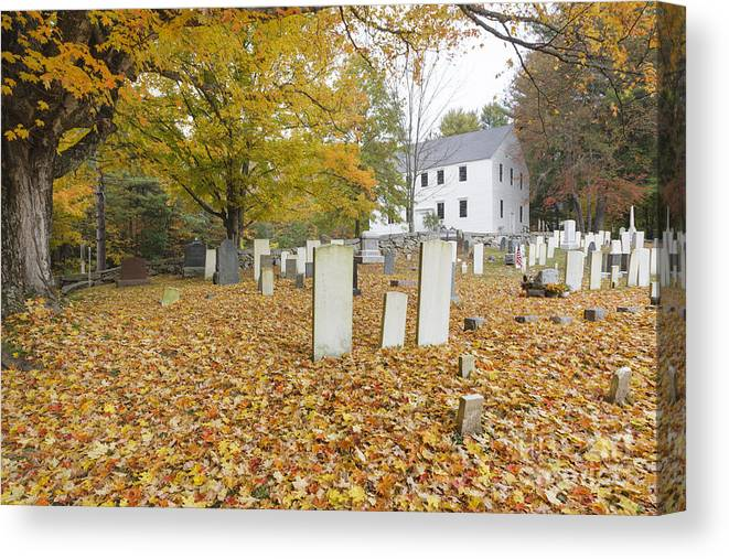 Colonial Meeting House Canvas Print featuring the photograph Hawke Meetinghouse - Danville New Hampshire by Erin Paul Donovan