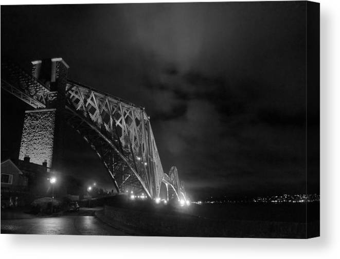 North Queensferry Canvas Print featuring the photograph Hazy Lights In The Night by Elena Perelman