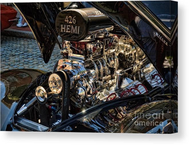 Hemi Canvas Print featuring the photograph Hemi Engine by Edward Sobuta