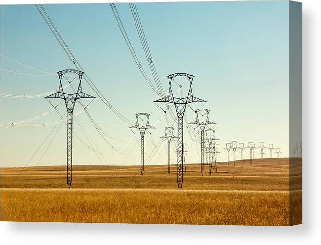 High Voltage Canvas Print featuring the photograph High Voltage Power Lines by Todd Klassy