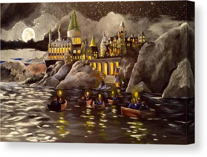 Harry Canvas Print featuring the painting Hogwarts Castle 2 by Tim Loughner