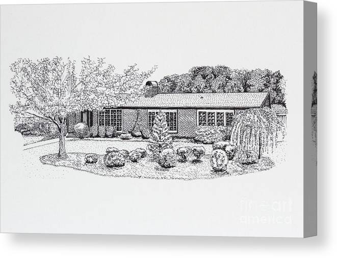 Home Canvas Print featuring the drawing Home Portrait 2040 by Robert Yaeger