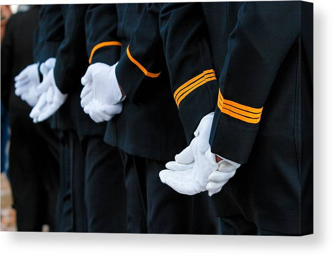 Military Canvas Print featuring the photograph Honor Guard by Lone Dakota Photography