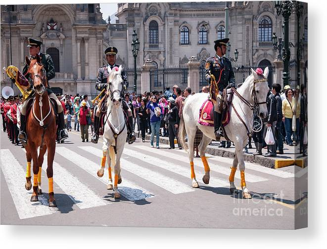 Plaza Mayor Canvas Print featuring the photograph Horse Guard At Parade by Bob Phillips