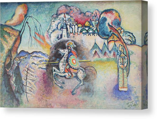 Wassily Kandinsky Canvas Print featuring the painting Horseman. St. George by Wassily Kandinsky