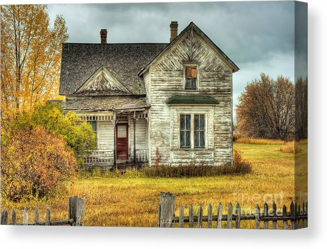 Seasons Canvas Print featuring the photograph House On Elm Street by Dennis Hammer