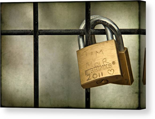 Lock Canvas Print featuring the photograph I Got You Babe by Evelina Kremsdorf