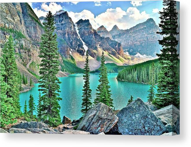 Moraine Canvas Print featuring the photograph Iconic Banff National Park Attraction by Frozen in Time Fine Art Photography