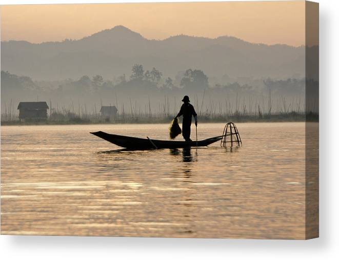 Asia Canvas Print featuring the photograph Inle Lake Fisherman by Michele Burgess