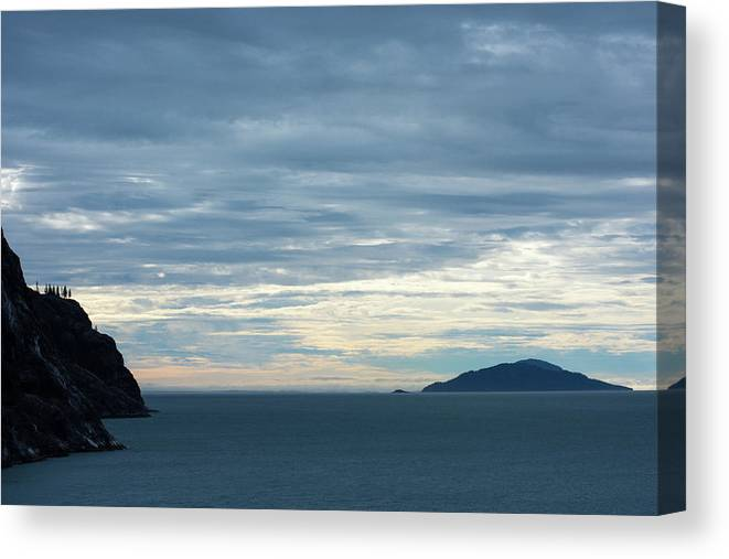 Sunrise Sunset Alaska Juneau Mountains Sunrise Ocean Sunrise Clouds Sun Rise Sun Set Canvas Print featuring the photograph Inside Passage Sunset by Allen Carroll